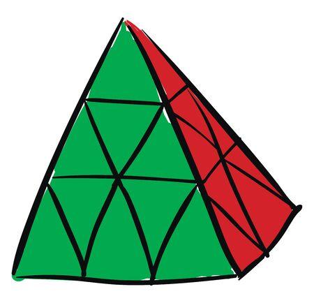 Rubiks cube pyraminx illustration vector on white background