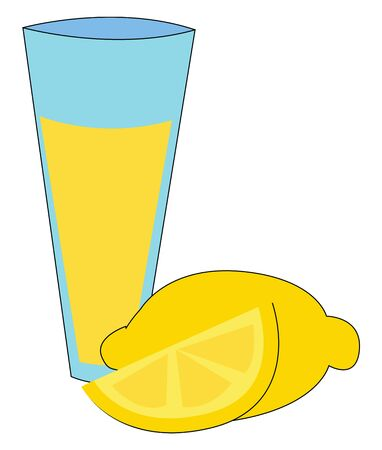 A glass of sweet lemon juice to beat the heat of sun in hot summer vector color drawing or illustration