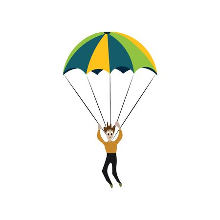 Sky diver illustration vector on white background  Vectores