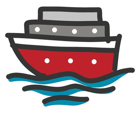 Red boat illustration vector on white background