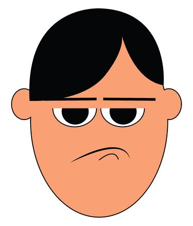 A cartoon showing only the face of a man who is very angry vector color drawing or illustration