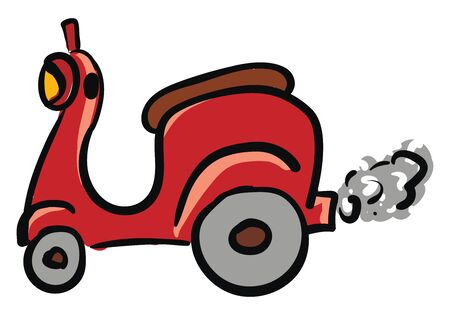 Red scooter illustration vector on white background Archivio Fotografico - 132662219