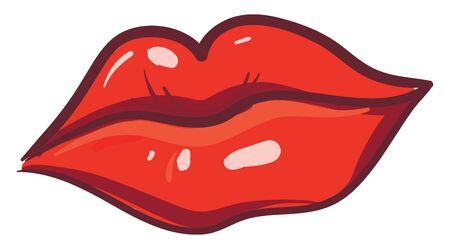 Red lips illustration vector on white background Stock Illustratie