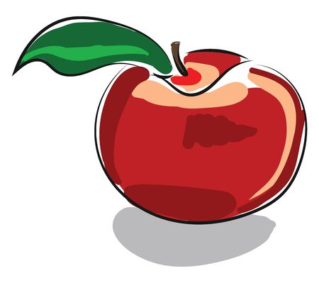 A caricature of a red apple about to be consumed vector color drawing or illustration Ilustrace