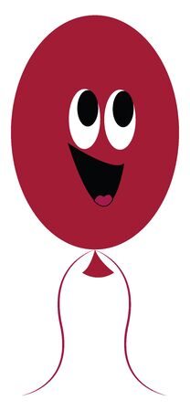 A happy maroon balloon with a bright smiley vector color drawing or illustration