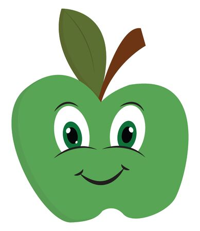 Cartoon of a big bright green apple with a smiling face vector color drawing or illustration Иллюстрация