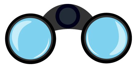 A large binoculars with clean lenses which is ready to focus vector color drawing or illustration