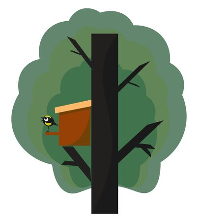 A manmade nest box in a big tree and a cute bird standing outside the box vector color drawing or illustration