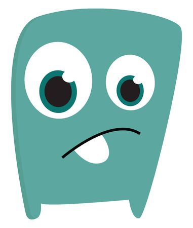A blue sad monster looking sad with its large eyes vector color drawing or illustration