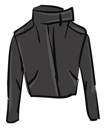 A stylish and attractive black jacket with full sleeves which gives full protection vector color drawing or illustration