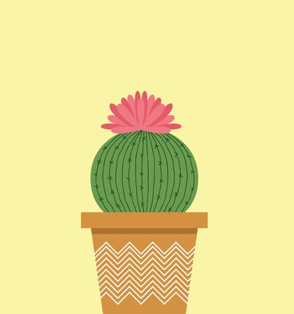 A small cactus in a pot with a beautiful flower vector color drawing or illustration