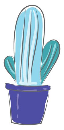 A cactus brooch in a dark blue pot vector color drawing or illustration Illustration