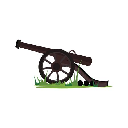 A big military cannon on a grass with three bullets ready to load and fire vector color drawing or illustration