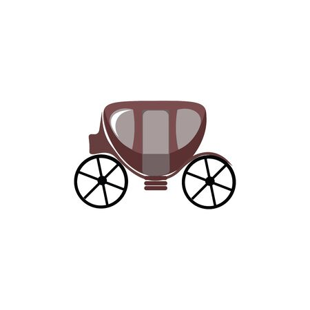 A small carriage with a footrest to step in and out with two big wheels vector color drawing or illustration Ilustracja