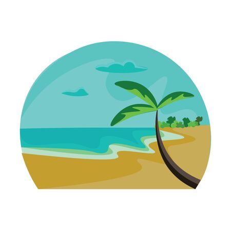 Hot sandy beach with coconut trees and a long coastline vector color drawing or illustration