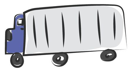 A big blue truck with a large container which has six wheels on it vector color drawing or illustration Ilustração