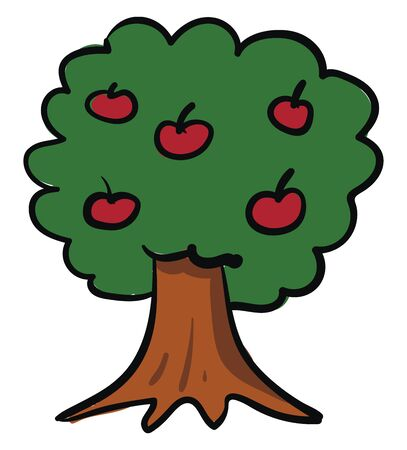 A big and strong apple tree with lots of red apples in it vector color drawing or illustration