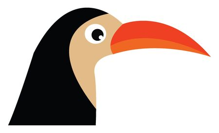 A black bird with a very long and sharp orange beak vector color drawing or illustration 向量圖像