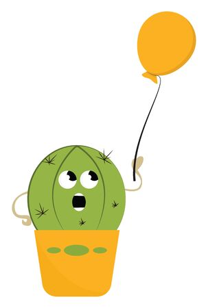 A cartoon of a cactus holding on a yellow balloon vector color drawing or illustration