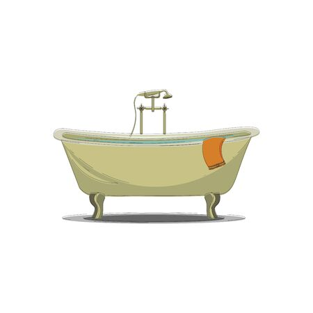 A large comfortable bathtub with hot and cold water taps and a shower vector color drawing or illustration Çizim