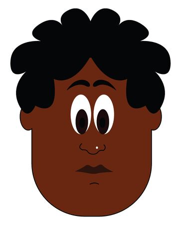 A portrait dark boy with black hair looking confused vector color drawing or illustration