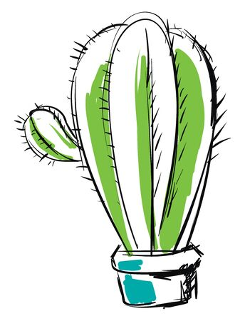 A rough sketch of a cactus in green and blue color vector color drawing or illustration