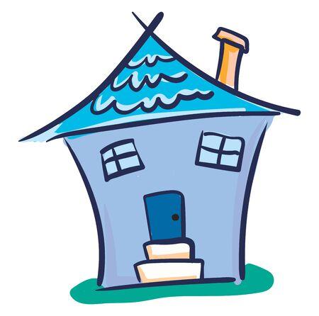Una casa blu con un camino arancione con la sua porta al centro con un disegno o un'illustrazione a colori vettoriale a due fasi