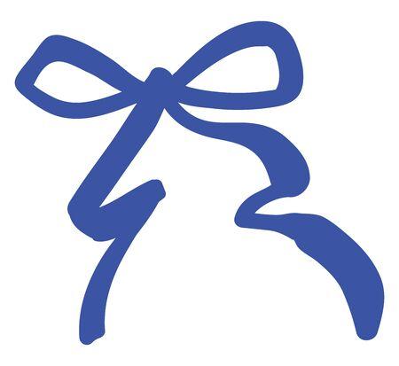 Eine dünn aussehende blaue Schleife, die zusammengebunden ist, um eine Vektorfarbzeichnung oder -illustration zu formen