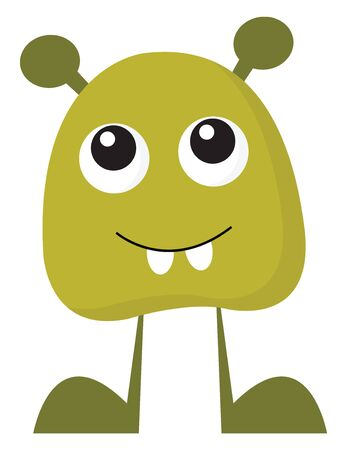 A baby green monster showing its teeth to scare someone vector color drawing or illustration