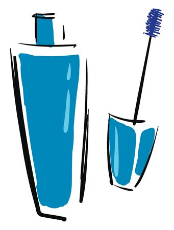 A container of blue mascara with a long brush to beautify ones eyes vector color drawing or illustration