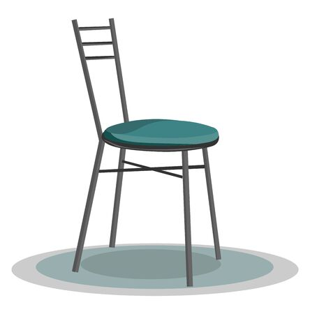 A tall stylish chair in metal without a hand rest vector color drawing or illustration