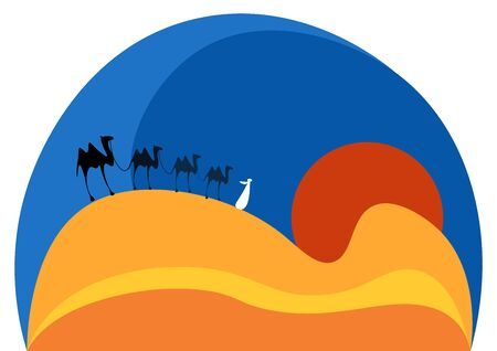 Group of camels travelling together on an evening in a sun set time vector color drawing or illustration