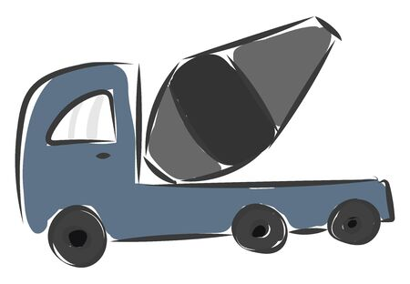 A cement mixing machine loaded fully and is ready for departure vector color drawing or illustration  イラスト・ベクター素材