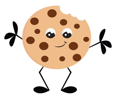 A chocolate cookie with a smiley with legs and arms vector color drawing or illustration