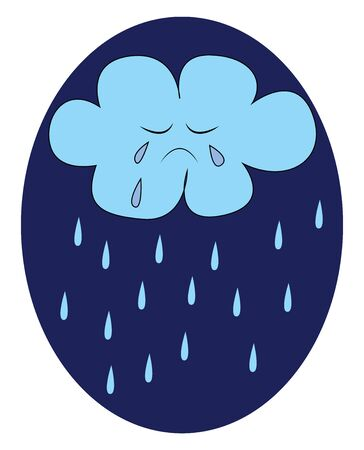 A crying cloud pouring its tears as rain vector color drawing or illustration