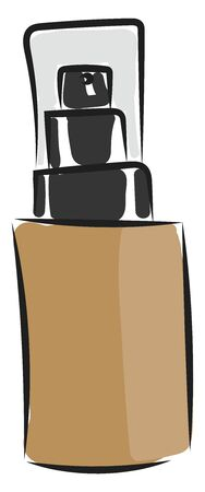 A bottle of a concealer in a dark shade with a closed lid vector color drawing or illustration