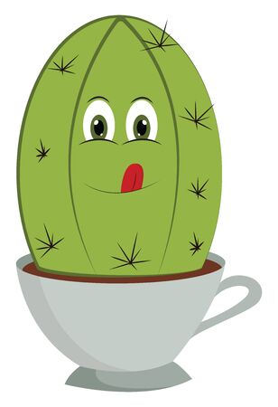 A cartoon of a cactus in a tea cup with a smiling face vector color drawing or illustration 向量圖像