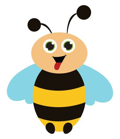 Cute cartoon of a honeybee with a open mouth and a licking tongue vector color drawing or illustration Illusztráció
