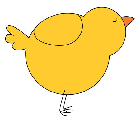 A beautiful drawing of a young chick in yellow color with its eyes closed vector color drawing or illustration
