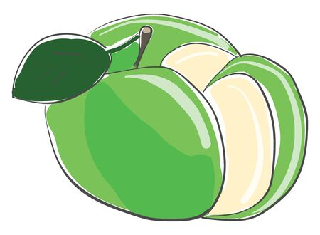 A piece of cut delicious green apple vector color drawing or illustration