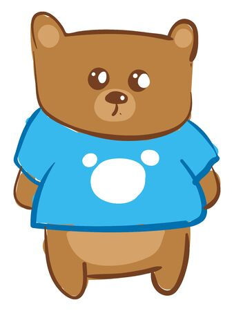 A cute innocent teddy bear wearing blue shirt vector color drawing or illustration