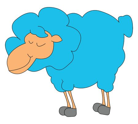 A fat blue lamb with lots of fur which is standing and sleeping vector color drawing or illustration
