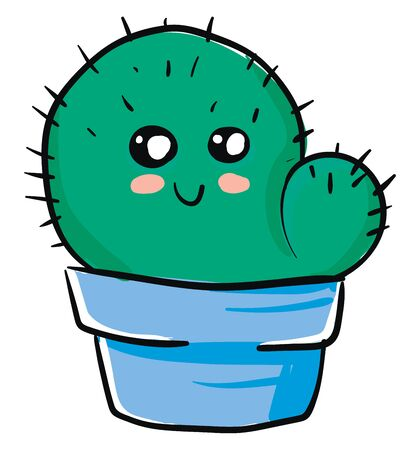 A cute green cactus with blue pot vector color drawing or illustration 向量圖像