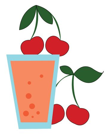 A glass of freshly prepared cherry juice which is red in color vector color drawing or illustration