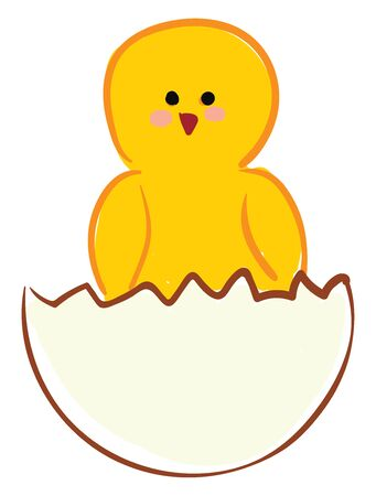 A drawing of a broken egg with a cute chick coming out of it vector color drawing or illustration Ilustrace