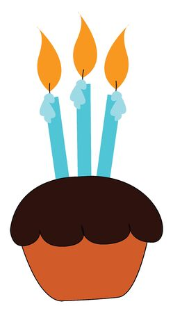 A chocolate cupcake with three candles burning on it vector color drawing or illustration
