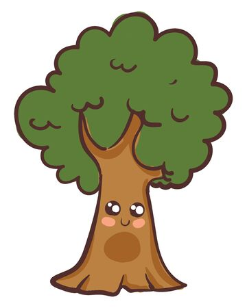 A cute strong tree with a lot of branches of green leaves vector color drawing or illustration