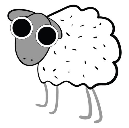 A cute white sheep wearing googles and full of fur vector color drawing or illustration