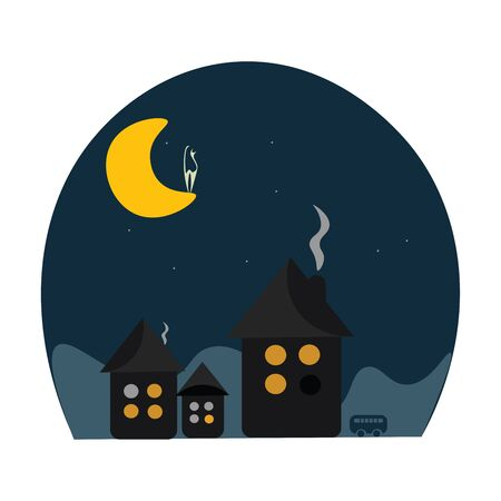 Shadow of 3 beautiful houses with burning chimney and a cat on the moon vector color drawing or illustration