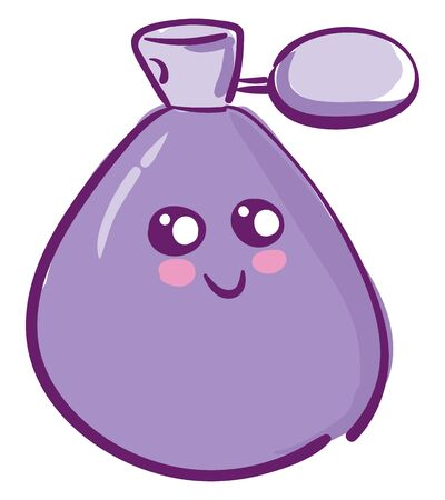 A cute balloon shaped perfume bottle with violet perfume vector color drawing or illustration